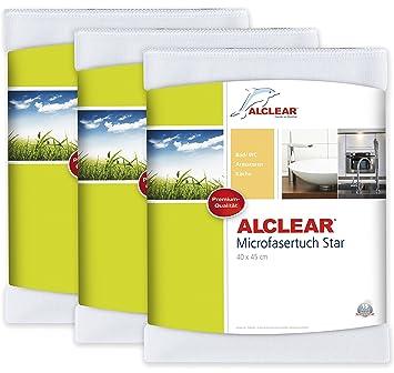 ALCLEAR 950006_3 3 Er Set Microfasertuch Star Spezialtuch Für Bad Und  Küche, Entfernt Kalkränder