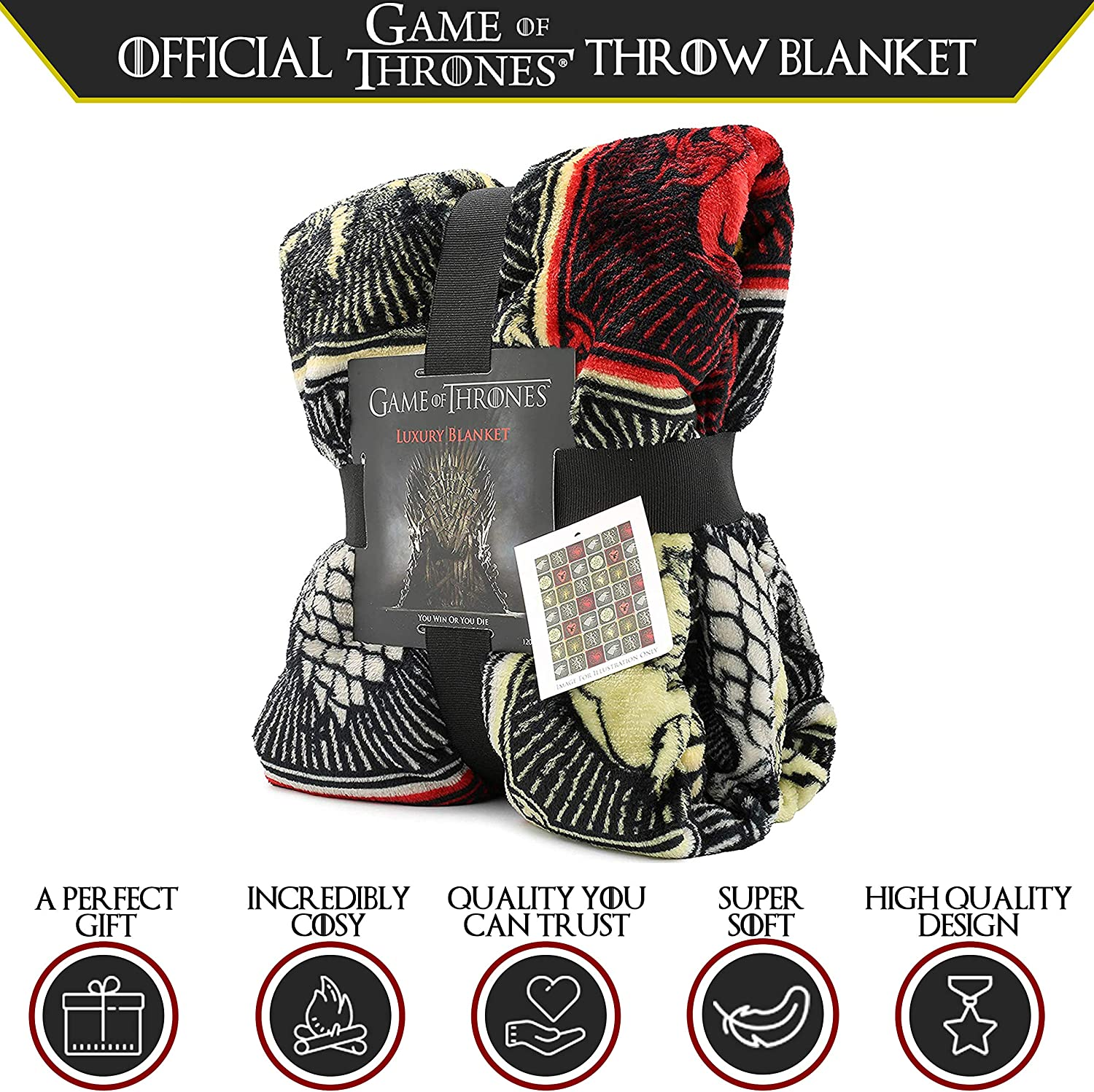 Game of Thrones MERCHANDISE Super Soft Couverture Luxe Jeté De Lit Maison de symboles