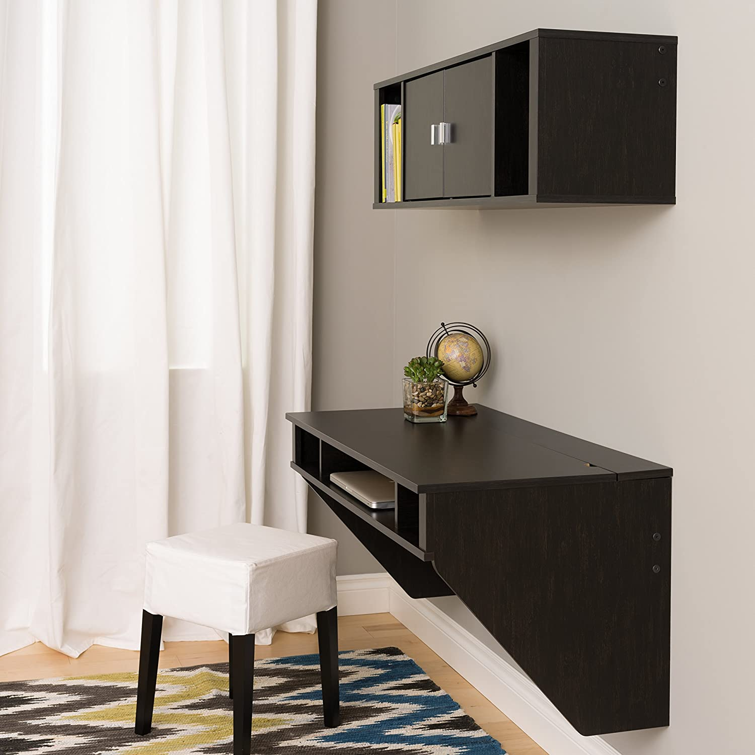 Amazon.com: Wall Mounted Designer Floating Desk in Washed Ebony ...