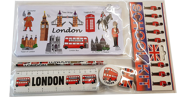 #1 Bestselling All In One School Kit - London Souvenir - Pen / Pencil Case, Sharpener, Eraser / Rubber, Ruler (inches/cm) - Trousse / Federmappchen / Caja de Lapices / Astuccio - White - EVERYTHING LONDON - Black Cab / Red Phone Box / London Bus / Royal G