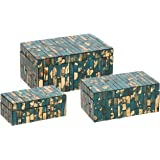 IMAX 80018-3 Glacier Mosaic Boxes - Set of Three, Turquoise