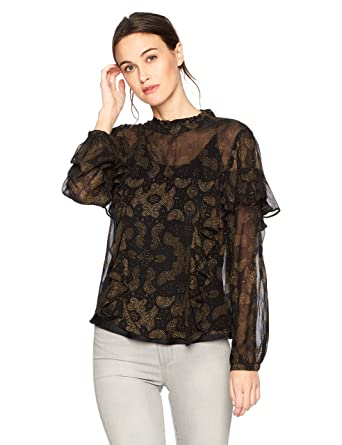 1b1cb17aa3f01 Lucky Brand Women s High Neck Ruffle Blouse in Black Multi at Amazon ...