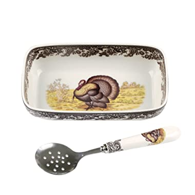 Spode 1606364 Woodland Turkey Cranberry Dish with Slotted Spoon