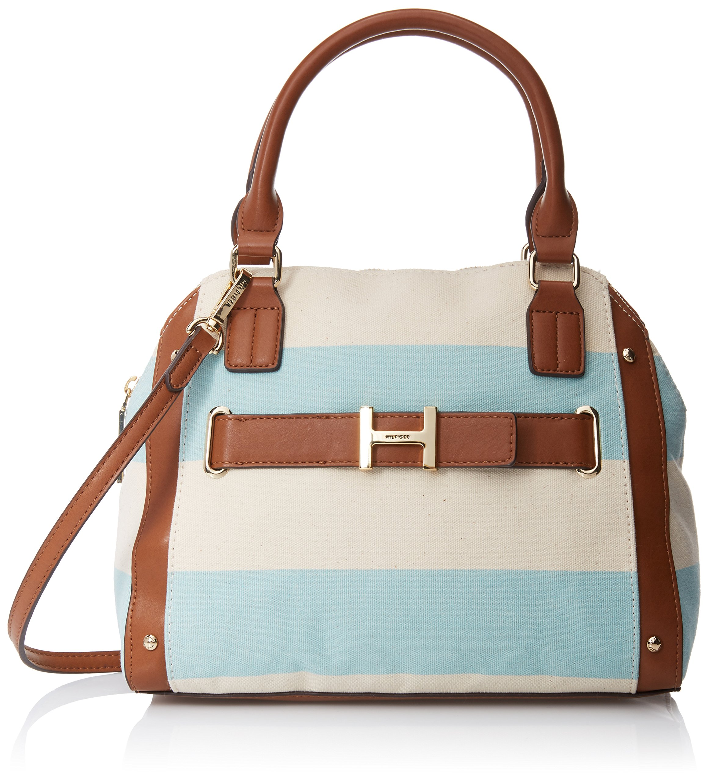 Tommy Hilfiger TH Rugby Stripe Satchel Bag, Sea Glass/Natural, One Size by Tommy Hilfiger