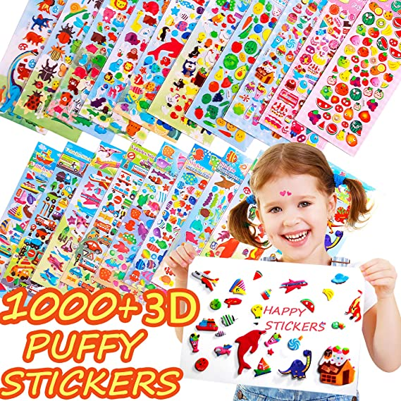 Horiechaly Stickers for kids 20 Different sheets cartoon 3D Puffy Stickers, 1000 Stickers for Teachers, Including Animals, Dinosaur, Cars Transportation, Foods, Cakes Marine Creature , Fishes and more