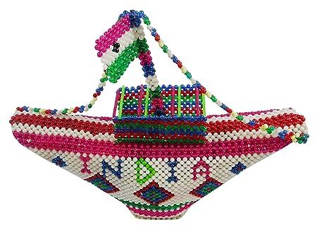 Sumitraben Handicraft Artificial Pearl Boat Showpiece (34 cm x 4 cm x 29 cm)