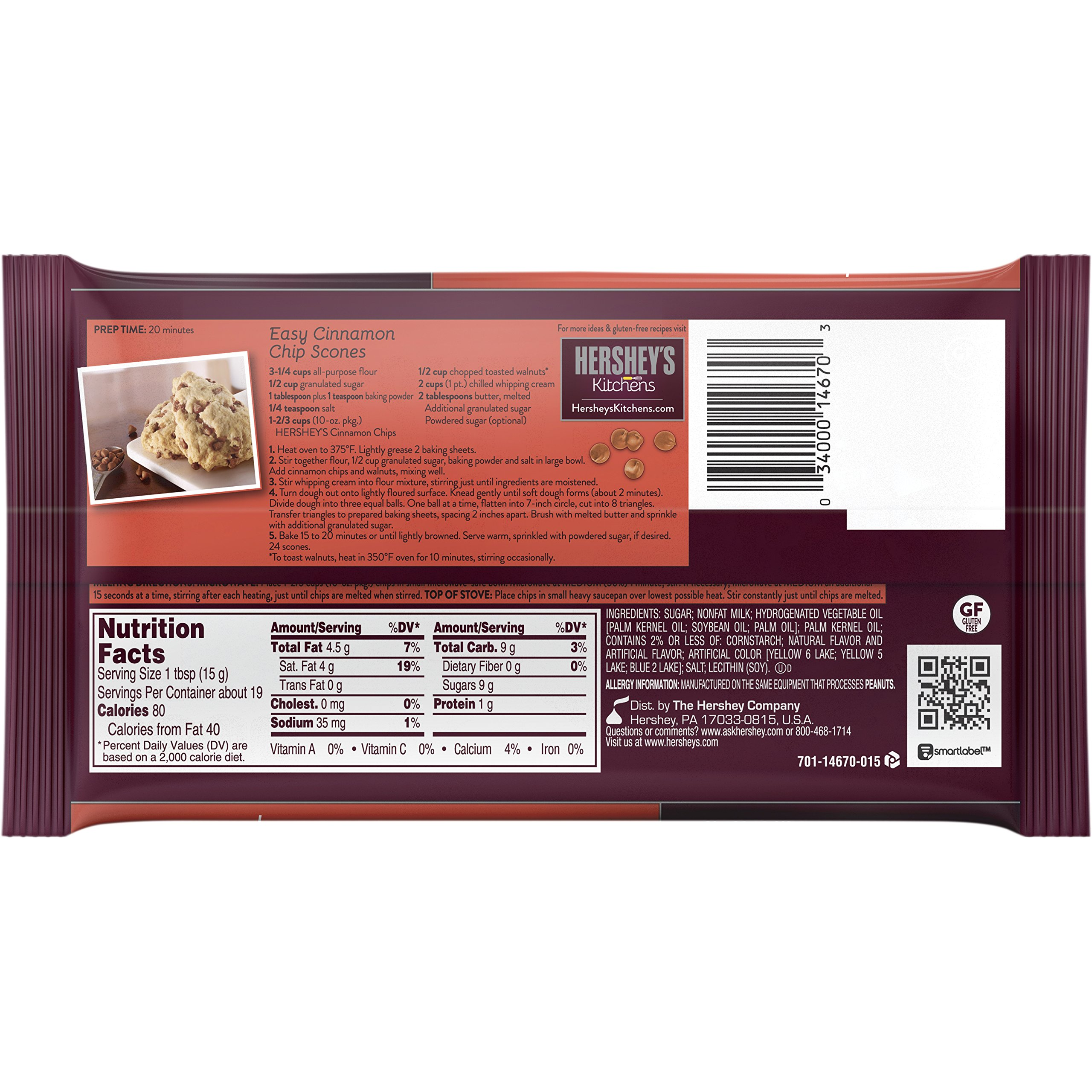 Hershey's Cinnamon Baking Chips, 10-Ounce Bag (Pack of 12) by HERSHEY'S (Image #1)