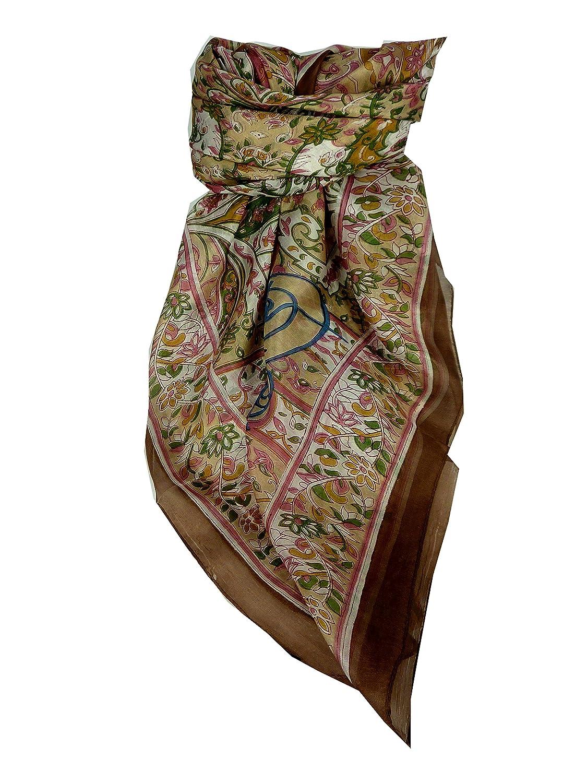Classic Range Square Scarf 100% Mulberry Silk Alisha Design Caramel from Pashmina & Silk