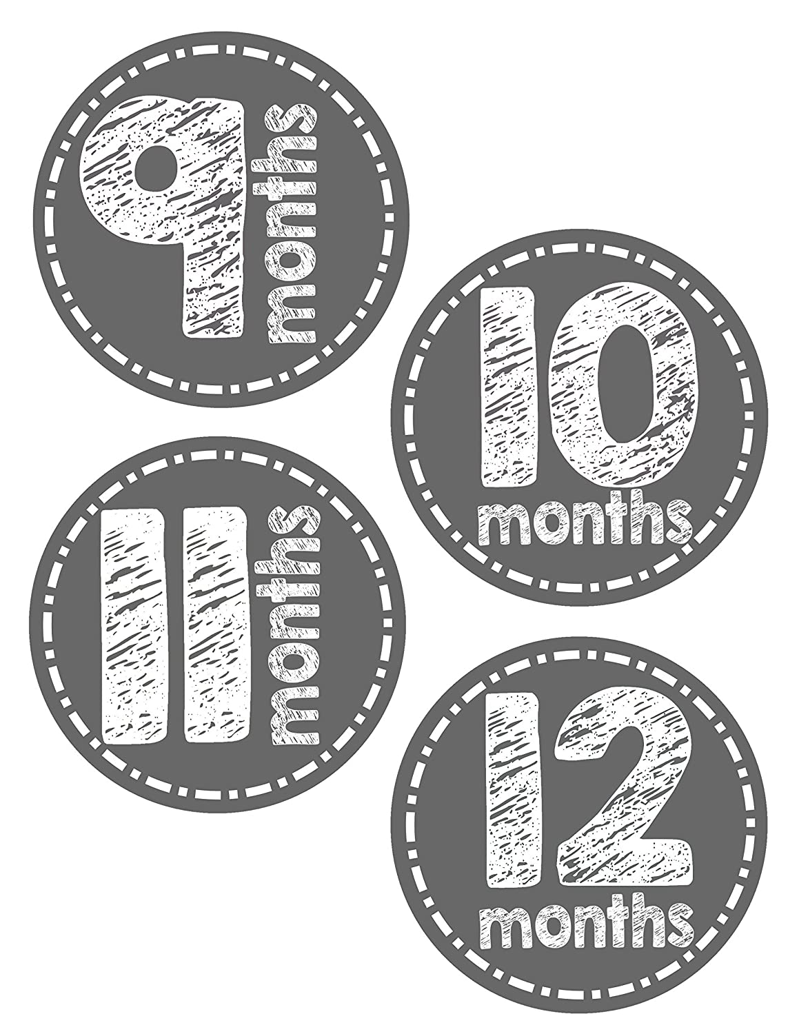 Baby Month Stickers Monthly Baby Stickers Grey Gray Chalkboard 12 Months