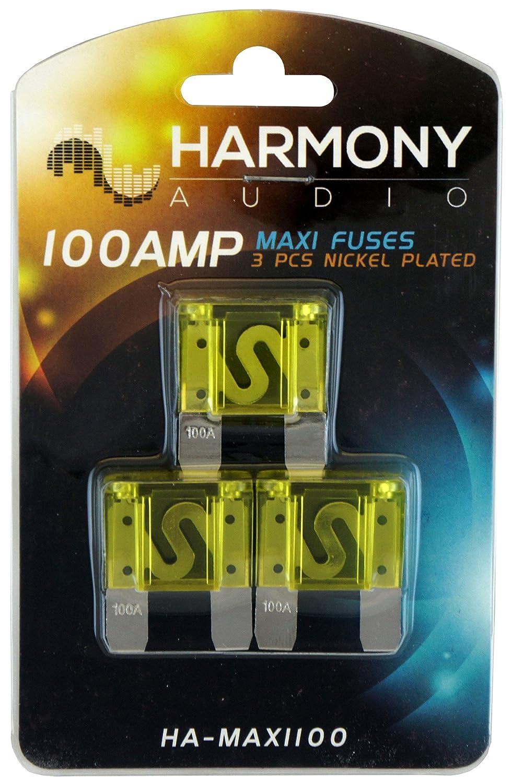 Harmony Audio HA-MAXIFH Car Boat Marine Stereo MAXI Fuseholder /& 100 Amp Fuses
