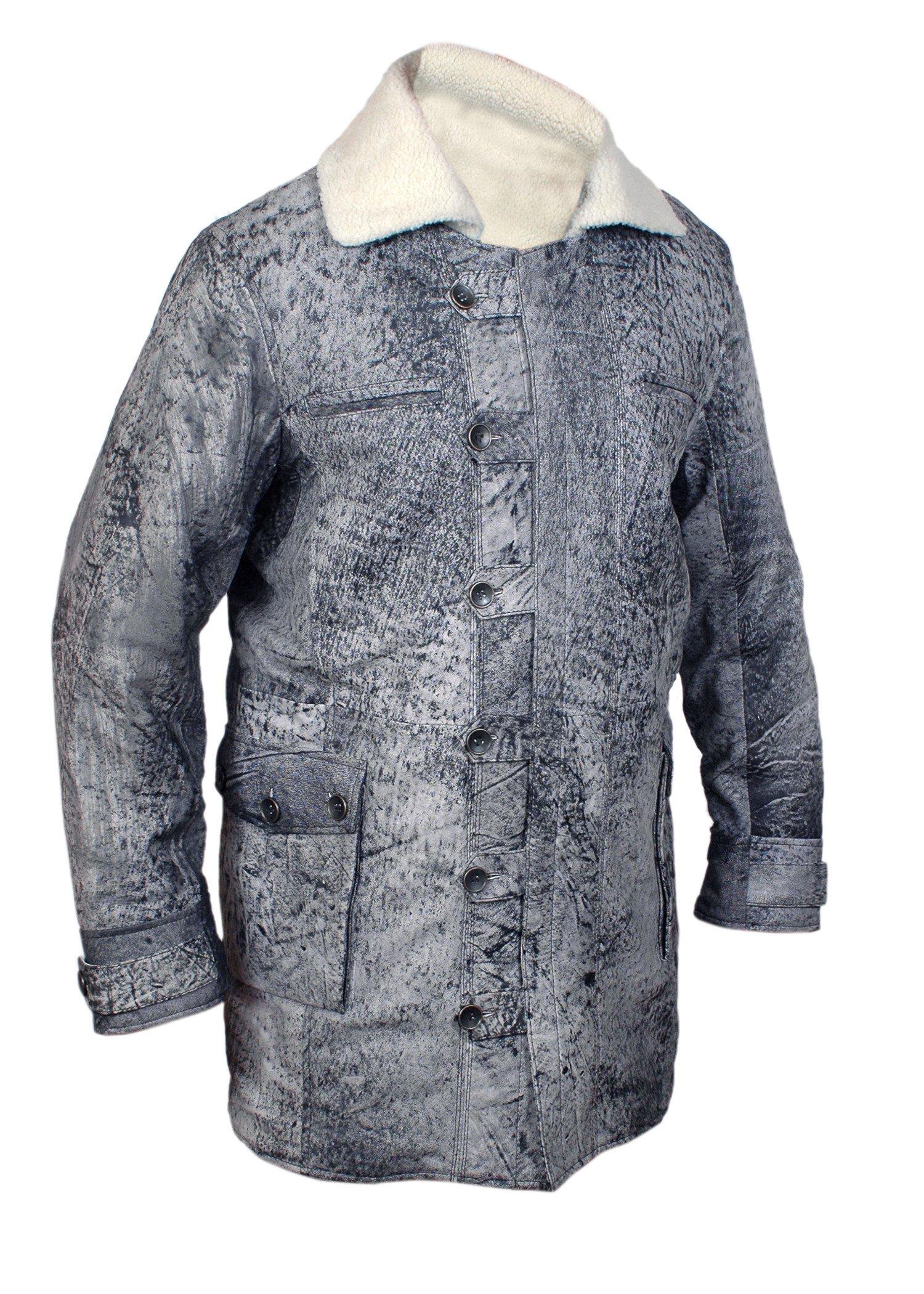 F&H Boy's Bane Genuine Distressed Leather Shearling Coat M Grey