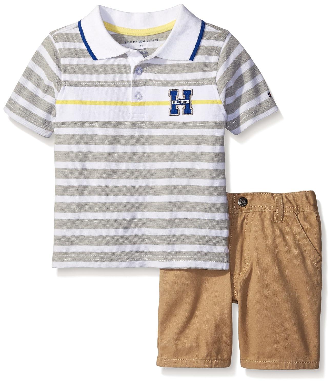 72761780e Amazon.com: Tommy Hilfiger Little Boys' 2 Piece Logo Polo Shirt with Short  Set: Clothing