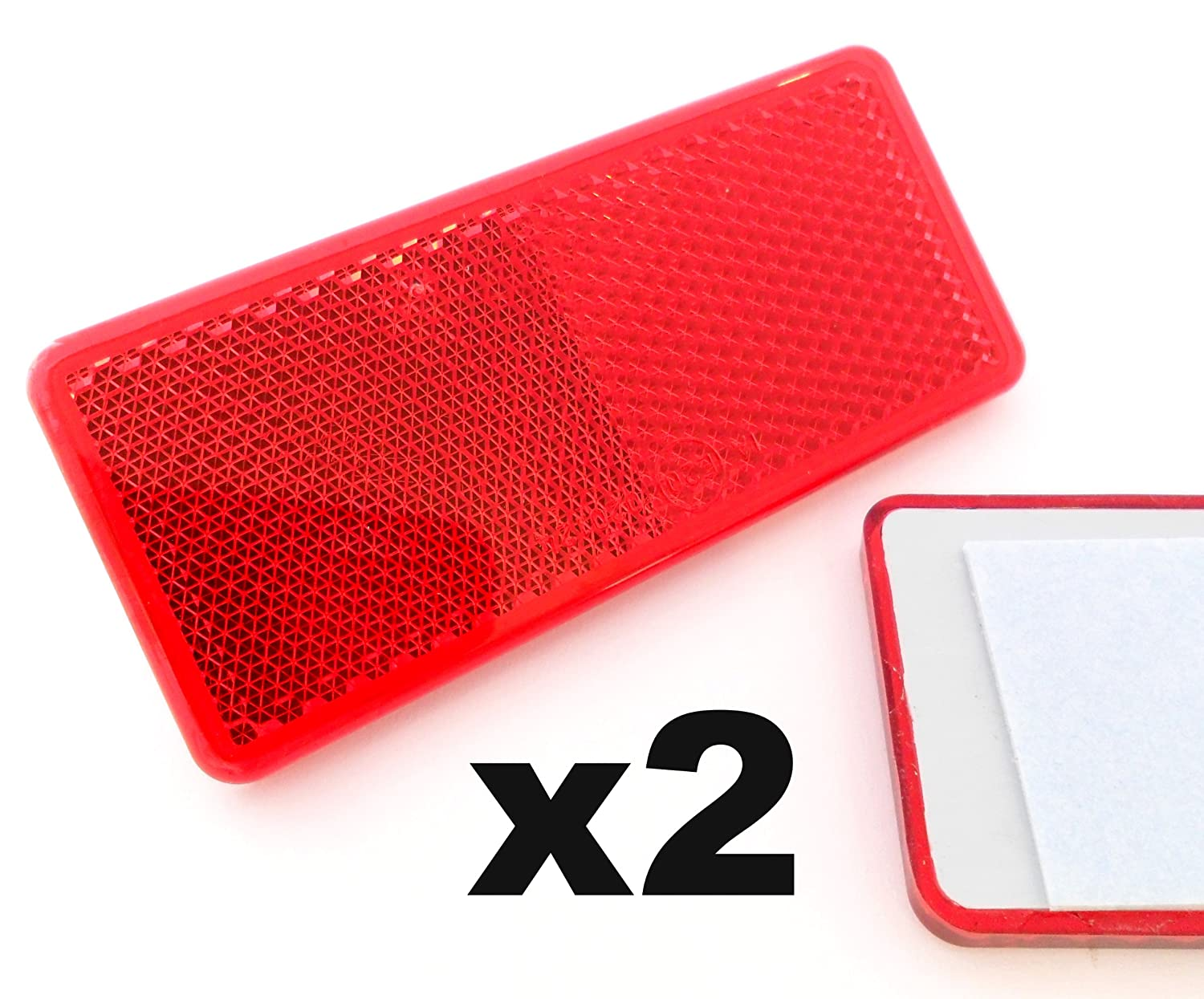 Reflectors x2 Self-Adhesive Red Approved Rectangular Trailer Caravan - FREE FIRST CLASS UK POSTAGE! Aspock