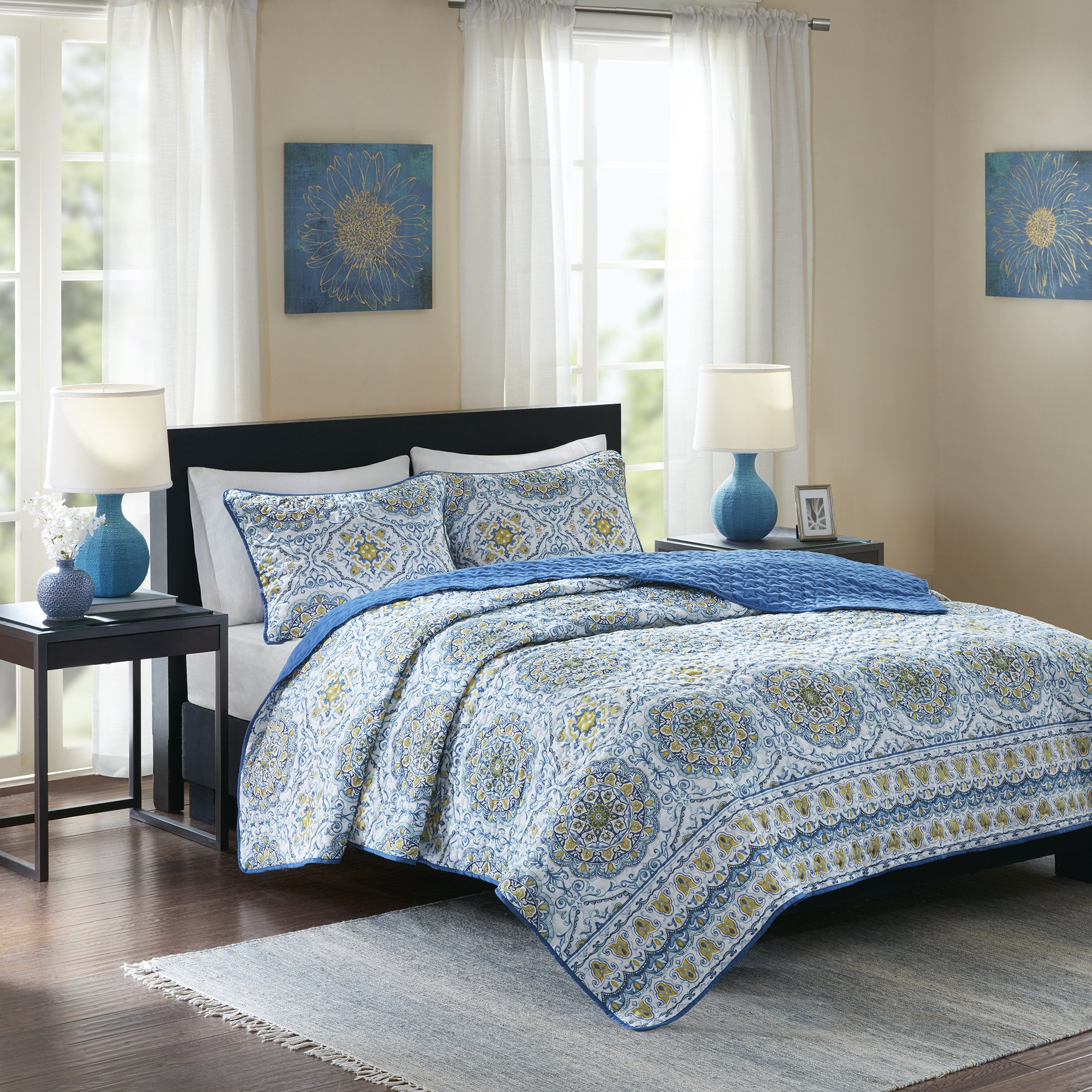 Home Essence Taya 3 Piece King Quilt Set Reversible Solid Printed Medallions Pattern Light-Weight Rustic Coverlet Soft Microfiber Bedding for All Season, Blue by Home Essence (Image #2)