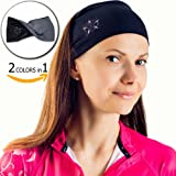 Yoga Headband for Women - Sweatband for Sport, Running, Workout, Traveling or Everyday Use - Insulates and Absorbs Sweat - Two-sided: Black & Grey