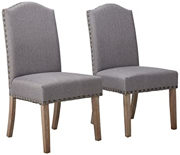 Roundhill Furniture Mod Urban Style Solid Wood Nailhead Grey Fabric Padded Parson  Chair (Set Of