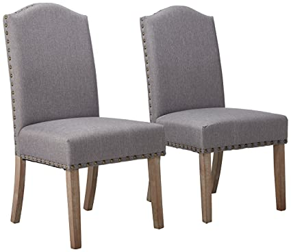 Attirant Roundhill Furniture Mod Urban Style Solid Wood Nailhead Grey Fabric Padded Parson  Chair (Set Of