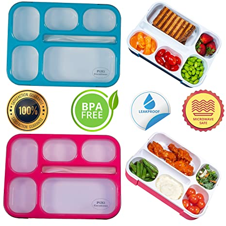 13a2c1ced99c Adult Bento Box Kids Lunch Box 2-Pack - BPA-Free Bento Box for Portable  Healthy Meals. Microwave & Dishwasher Safe Bento Boxes for Kids & Adults -  ...