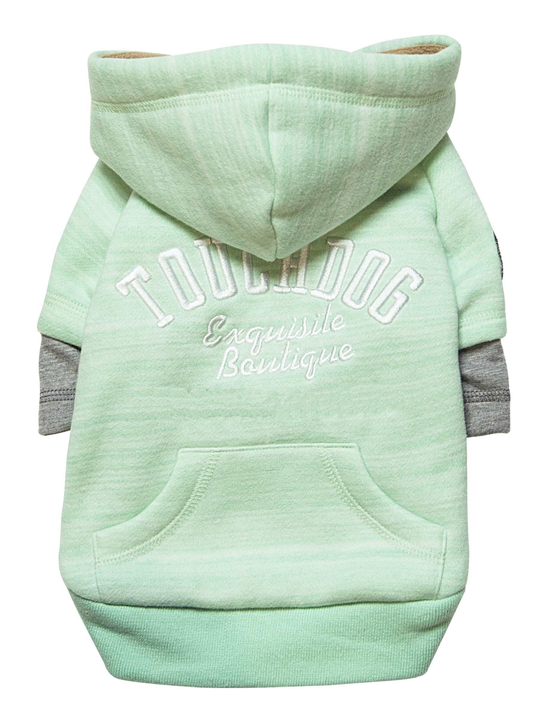 TOUCHDOG 'Hampton Beach' Designer Fashion Ultra-Plush Sand Blasted Pet Dog Hooded Sweater Hoodie, Large, Green