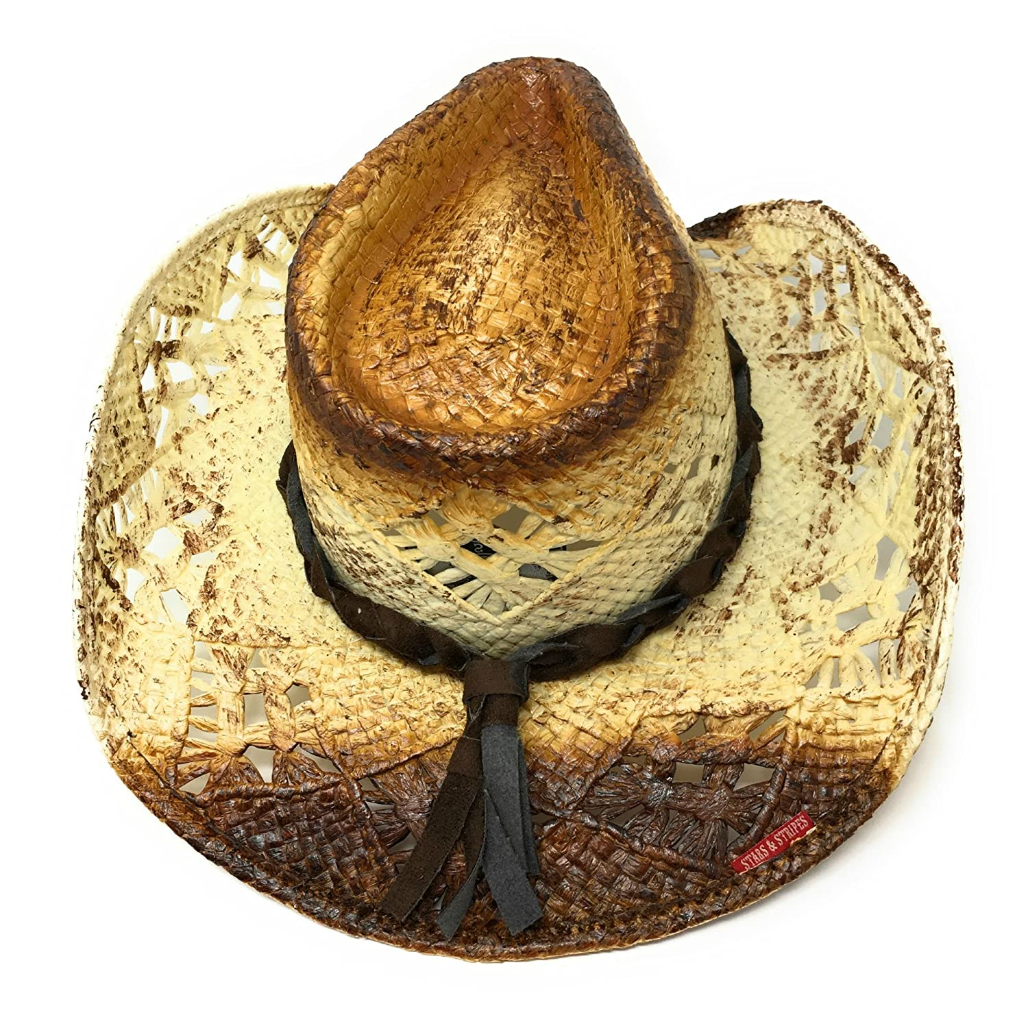 fd6cda9dac8 STARS   STRIPES Brown Cream Straw Cowboy Hat with Leather Band and Metal  Concho  Amazon.co.uk  Clothing
