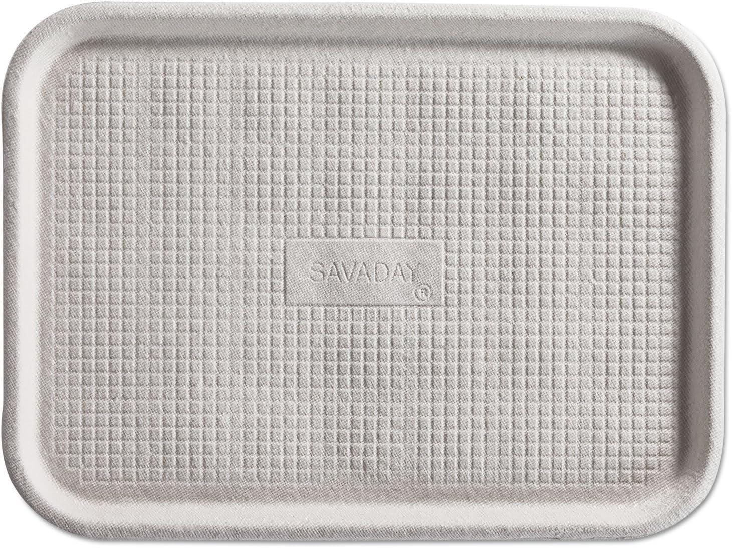 Chinet Savaday Molded Fiber Flat Food Tray, White, 12x16 HUHFALL