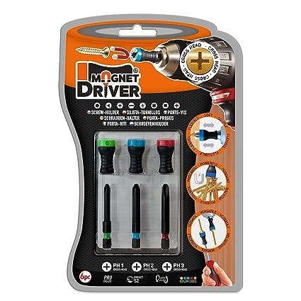 MAGNETICO PORTA PUNTAS MAGNET DRIVER® B33 PH, un blister que contiene 3 puntas PH y 3 magnet driver sujeta tornillos