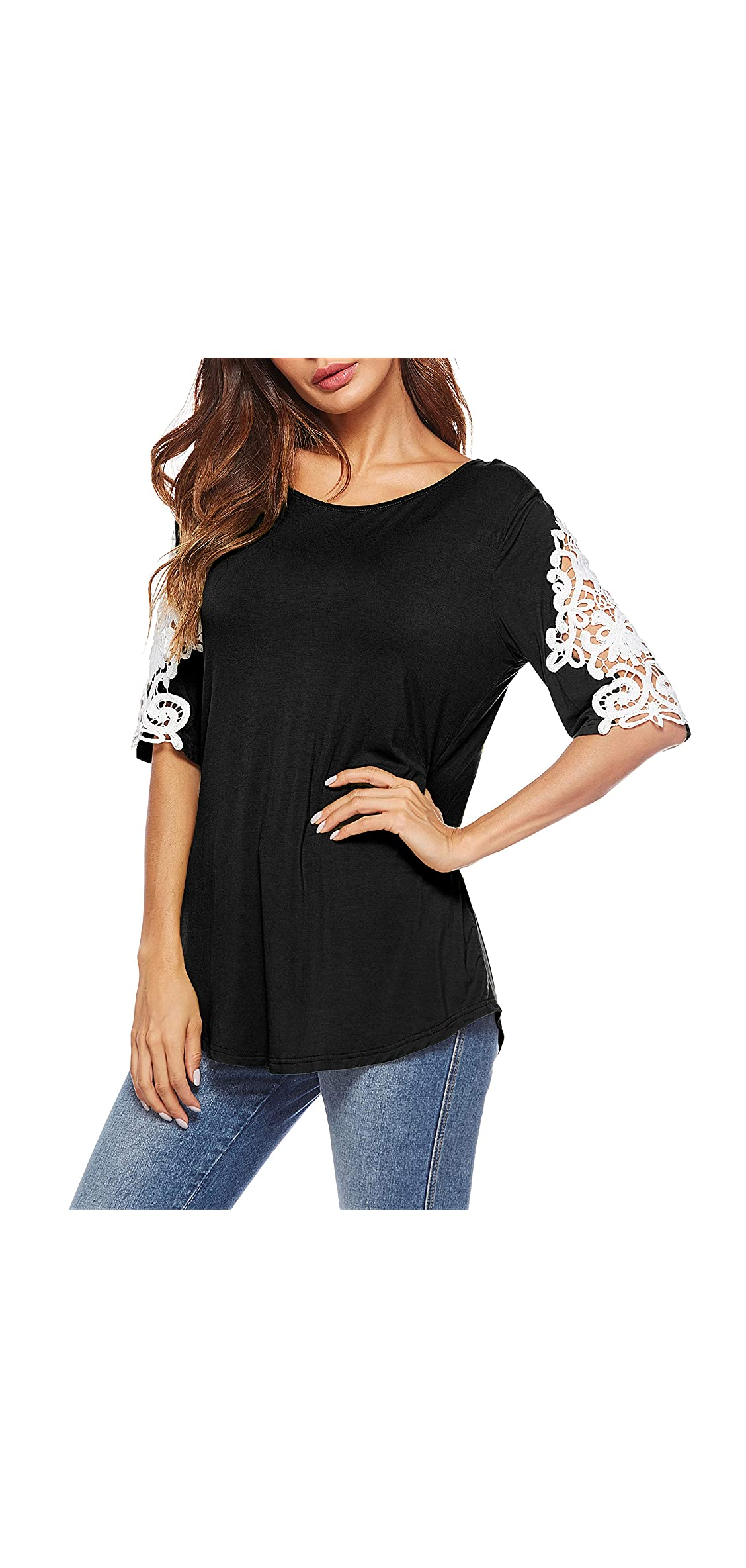 Womens Shirts Casual Tee Round Neck Short Sleeve Lace