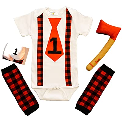 1st Birthday Boy Outfit First Cake Smash Set Lumberjack Onesie Plaid Red Black Leg Warmer & Axe Outfit