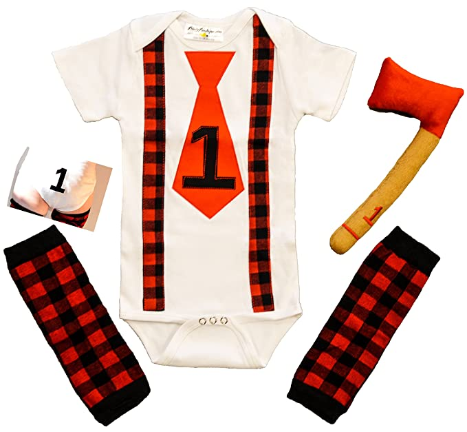 474264fb4f21 Amazon.com  First Birthday Outfit Boy Lumberjack Buffalo Plaid Cake ...