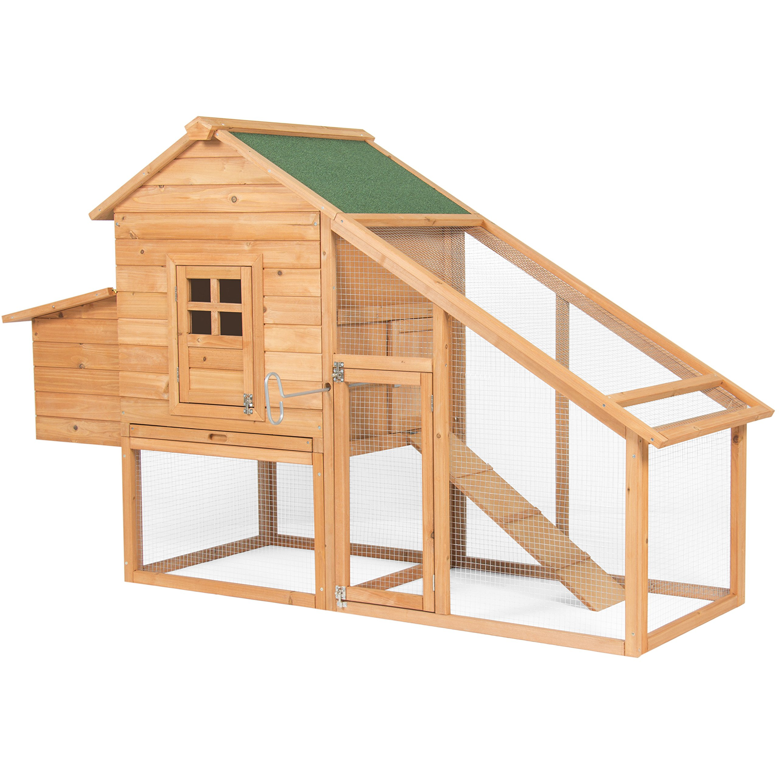 Best Choice Products 75in Wooden Chicken Coop Nest Box Hen House Poultry Cage Hutch w/ Ramp and Locking Doors - Brown