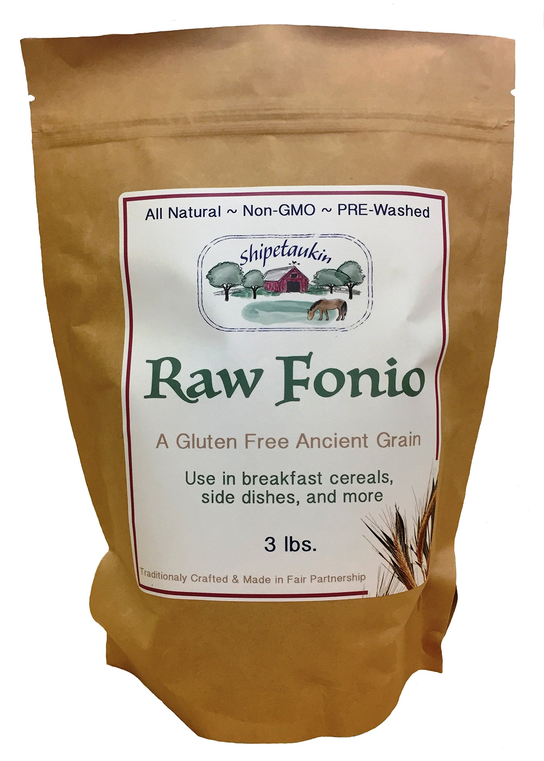 Shipetaukin Raw Vegan Fonio Gluten Free Lectin Free Ancient African Whole Grain Supergrain, 3 Lbs. by Shipetaukin