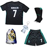 2017/2018 Real Madrid Cristiano Ronaldo #7 Away Black Football Soccer Kids Jersey &