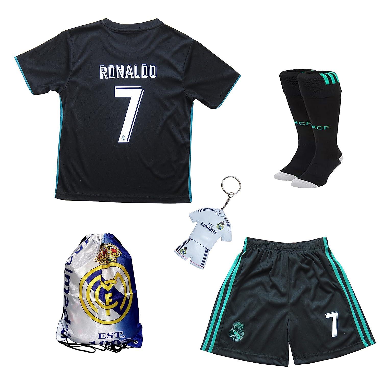 new concept 1ddad 78acf 2016/2017 Real Madrid Cristiano Ronaldo #7 Away Purple Football Soccer Kids  Jersey & Short & Sock & Soccer Bag Youth Sizes