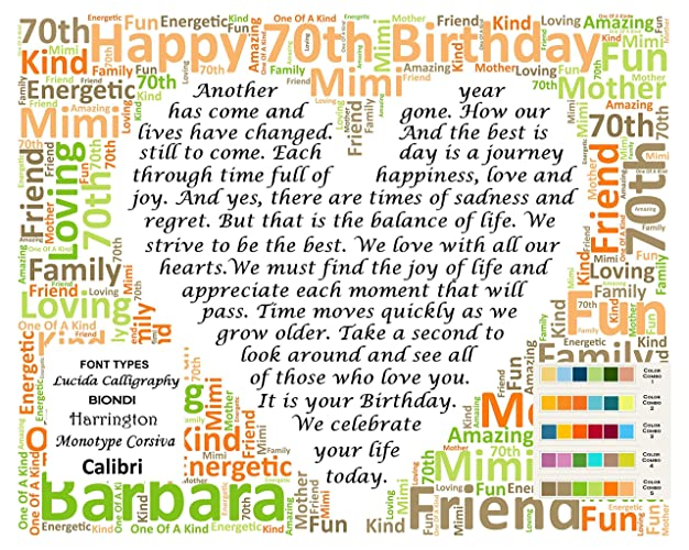 Seventy 70th Birthday Gifts Gift Ideas 70 Personalized For Her Him Man Woman Men Women 8 X 10