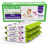 Baby Green Biodegradable Baby Wipes Natural essential oils– Value Pack (12 Packs of 72) 864 – compostable 99% Pure Water Plas