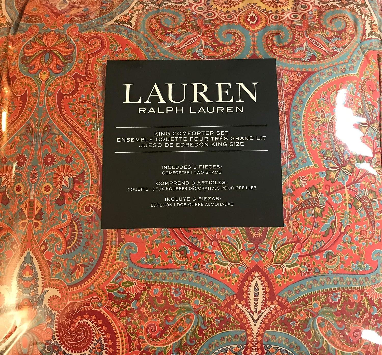 RALPH LAUREN King Comforter Set: 100% Cotton Paisley - Red, Red-Orange, Green, Blue, Yellow, Cream
