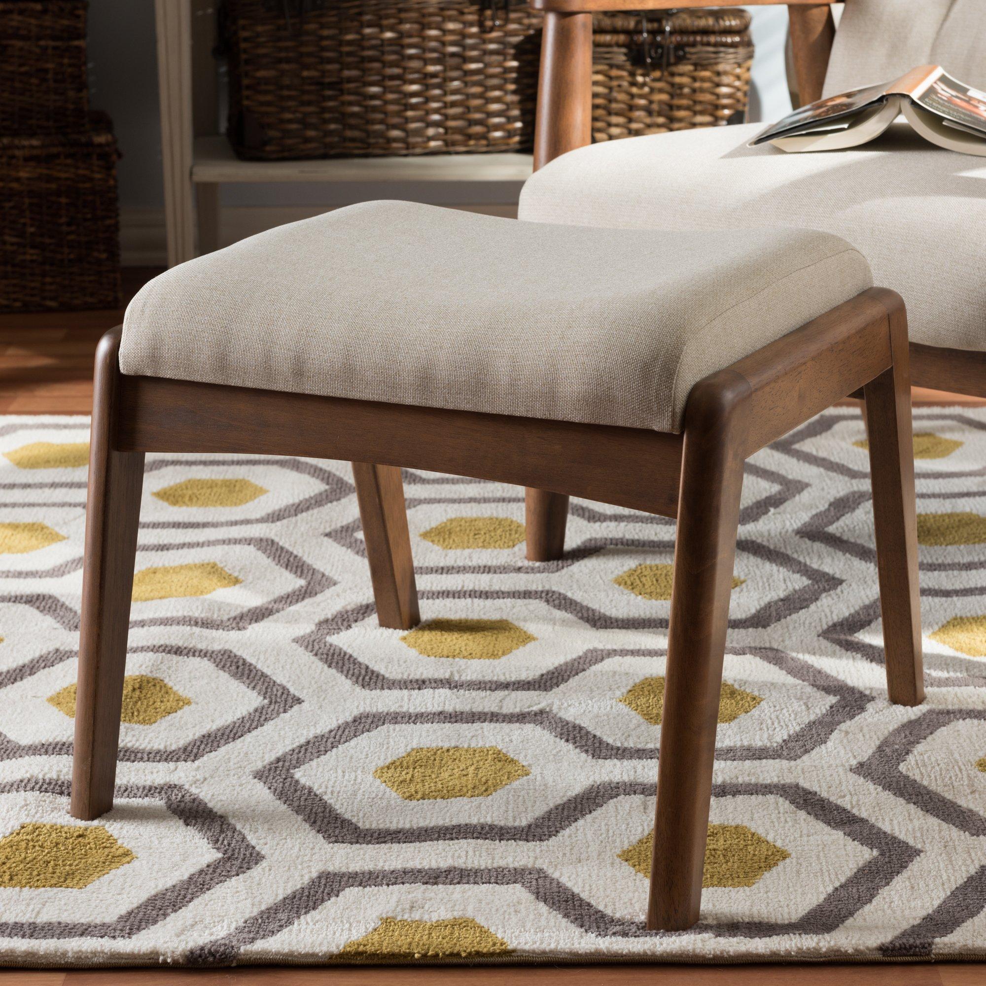 Baxton Studio Roxy Mid-Century Modern Walnut Wood Finishing and Light Beige Fabric Upholstered Ottoman