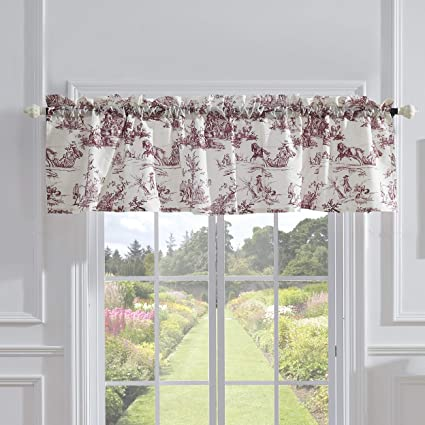 Greenland Home Classic Toile Window Valance, One Size, Red