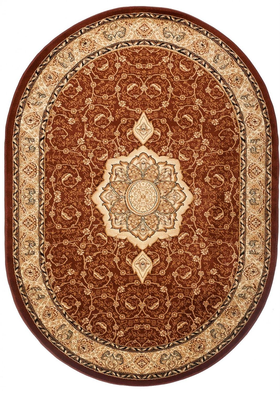 Carpeto Teppich Oval Orientteppich Braun 160 x 220 cm Medaillon Konturenschnitt Muster Iskander Kollektion
