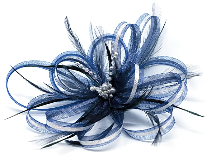 1625edd2fe1ff Navy Blue and silver fascinator with a touch of sparkling diamantè on a  clip  Amazon.co.uk  Handmade