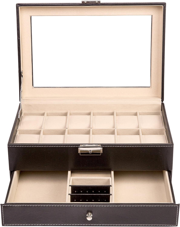 TRESKO® Estuche para Relojes   Caja de Presentación de Joyas con 12 Compartimentos y Cajón   Organizador, Joyero de Cuero Negro con Vidriera   Cerradura de Metal: Amazon.es: Hogar