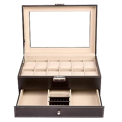 TRESKO Caja para joyas joyero caja de joyas organizador de joyas, caja de relojes caja para relojes para el viaje