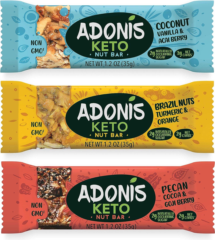Adonis Low Sugar Barritas de Nuez con Poco Azúcar - Selección Mixta | 100% Natural, Baja en Carbohidratos, Sin Gluten, Vegano, Paleo, Keto (16)