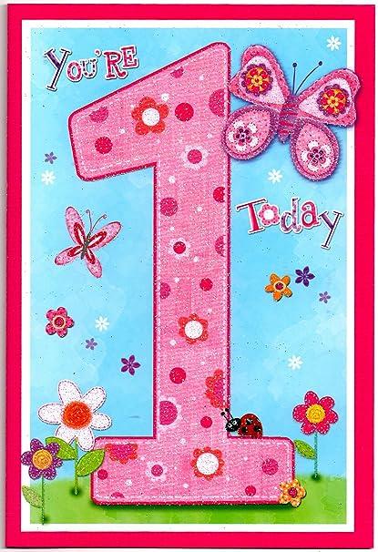 Tarjeta de felicitación de cumpleaños para una niña de 1 año ...