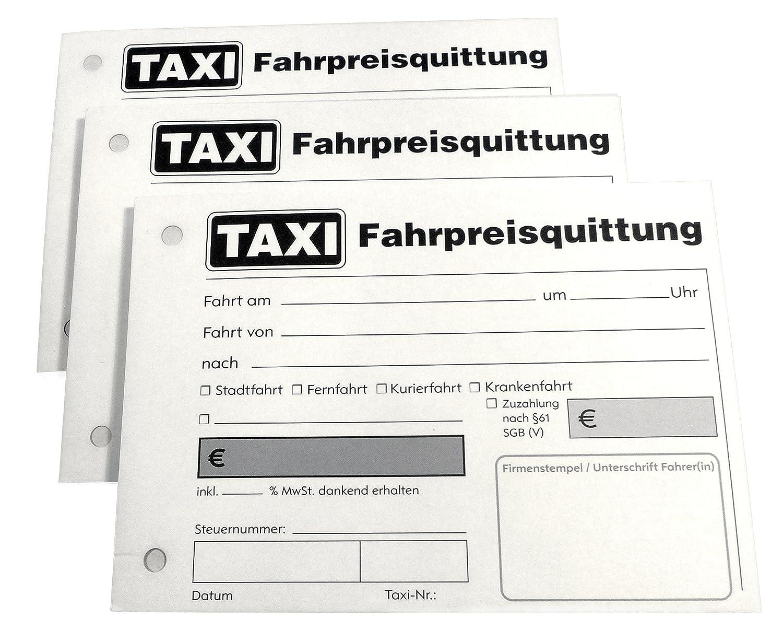 Blocco di ricevute per taxi, 100 fogli, in formato DIN A6 forati, in lingua tedesca, codice 22429 Druckerei Scharlau