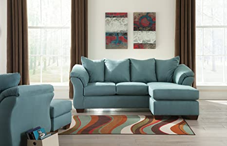 Outstanding Amazon Com Darcy Contemporary Sky Color Fabric Sofa Chaise Dailytribune Chair Design For Home Dailytribuneorg