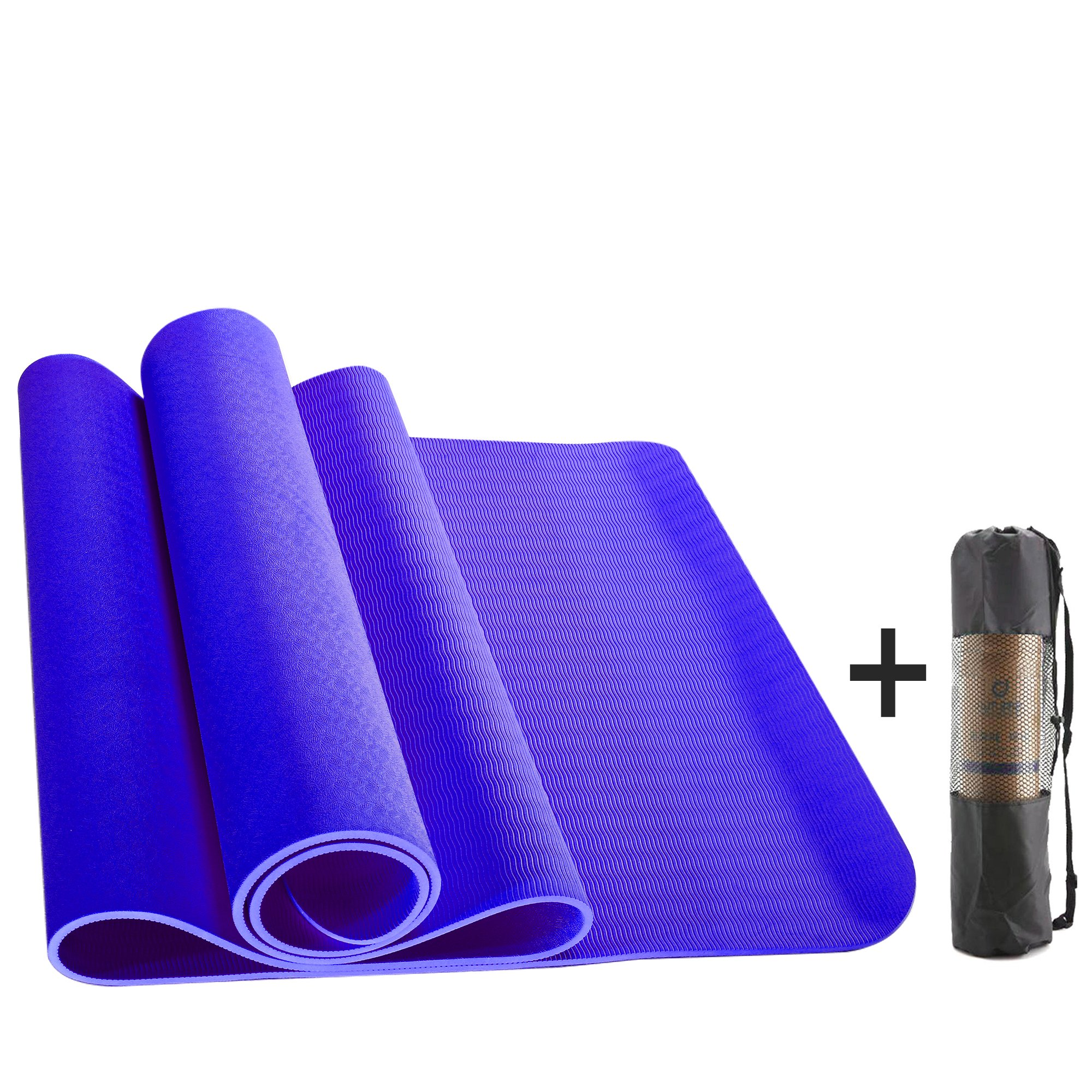 Yoga Mat - New Eco Friendly Non Slip TPE Yoga Mat For Men / Women Outdoor and Indoor. 6mm Thick L72''X W24'' , Perfect for Yoga, Pilates, Exercise & Workouts,Practice Dance,Free Yoga Bag(Purple)