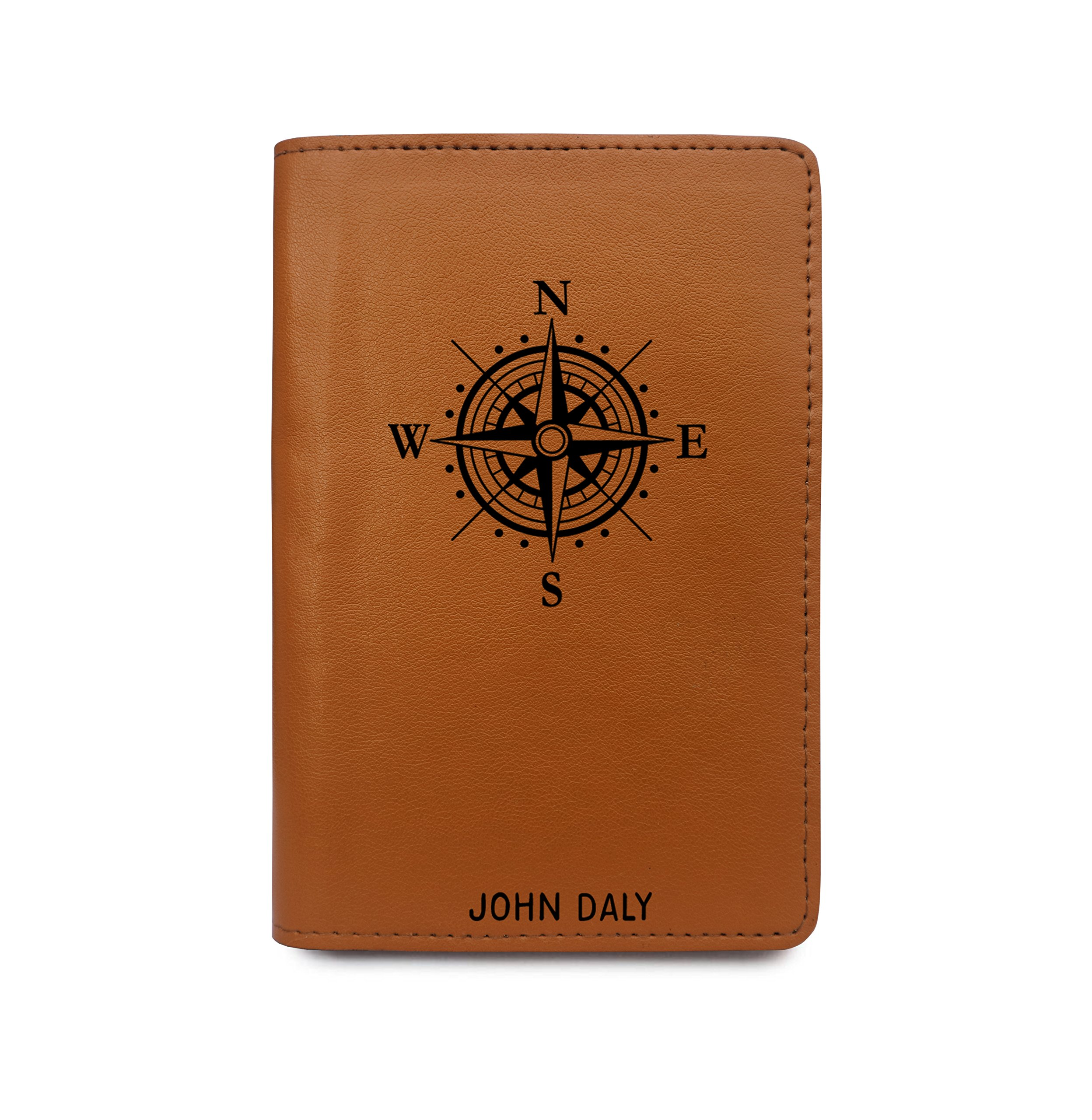 Personalized RFID Blocking Leather Passport Holder Compass