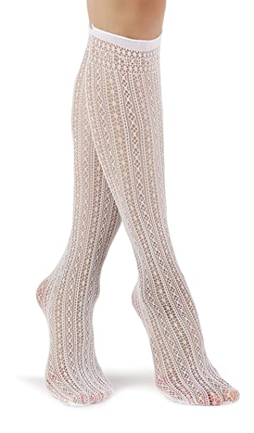 Mixmi Boutique Calcetines a la rodilla calados de mujer (Blanco)