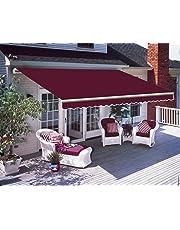 Greenbay DIY Patio Retractable Manual Awning Garden Sun Shade Canopy Gazebo with Fittings and Crank Handle